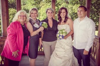 teta Květa, maminka, Martina, já, Robert