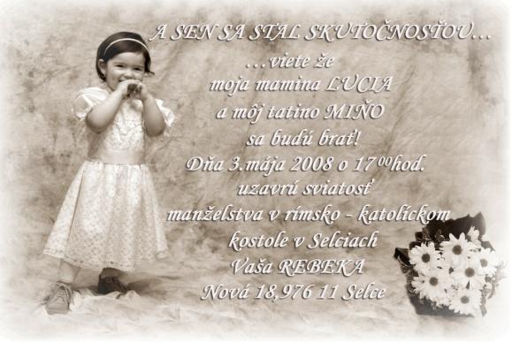 Lucia Rusková{{_AND_}}Milan Rudnický - naše svadobné oznámenie