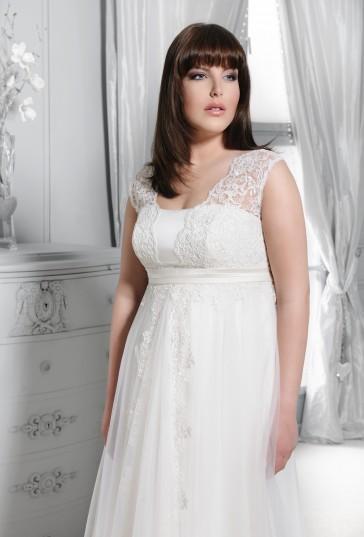 Výprodej svatebních šatů - Agnes 11204, bílá barva, vel. 42 - 44, cena 8.000 Kč