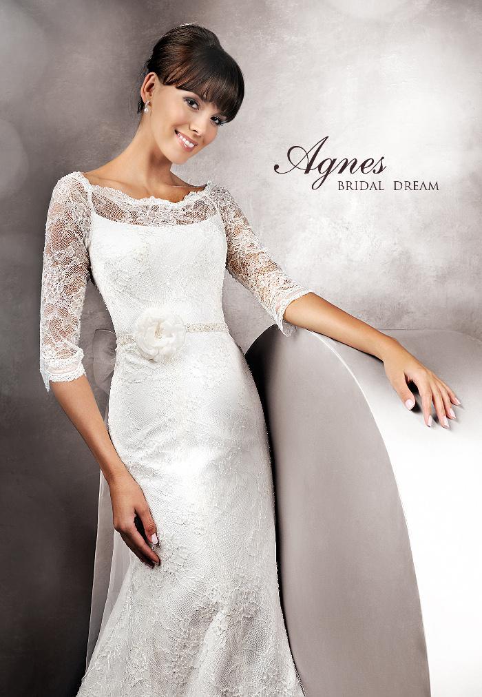 Výprodej svatebních šatů - Agnes 11210, bílá barva, vel. 38 - 40, cena 5.000 Kč