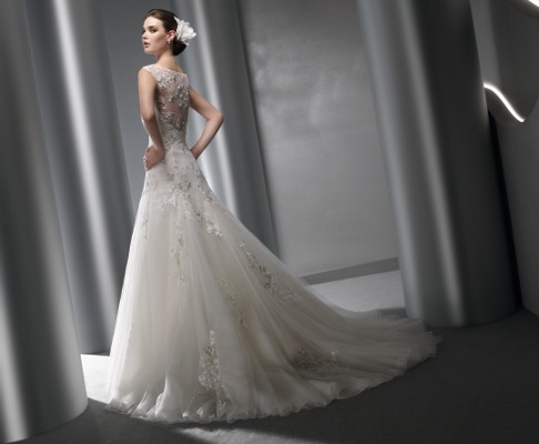 Výprodej svatebních šatů - Elianna Moore 1117, bílá barva, vel. 34 - 36, cena 8.000 Kč