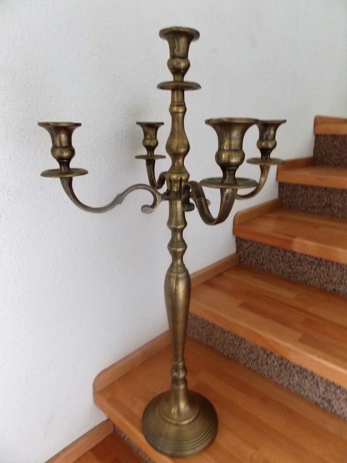 5 ramenný svietnik, tmavá zlatá 80 cm výška - Obrázok č. 4
