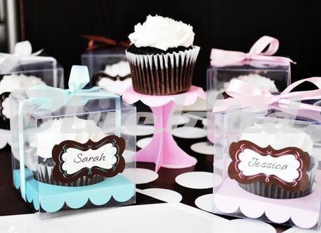 Box na koláčik - 12 ks ružová, biela, modrá farba - Obrázok č. 1