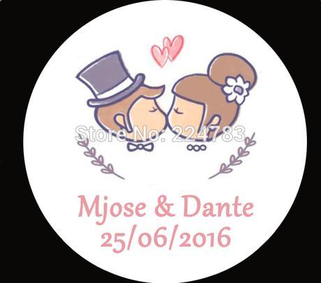 Nálepky s menami a dátumom svadby - 100 ks - Obrázok č. 1