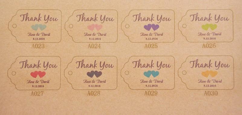 Papierové štítky s menami a dátumom svadby- 100 ks - Obrázok č. 2