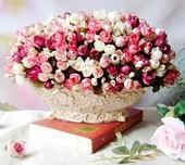 Malé ružičky rôzne farby - 15 ks,