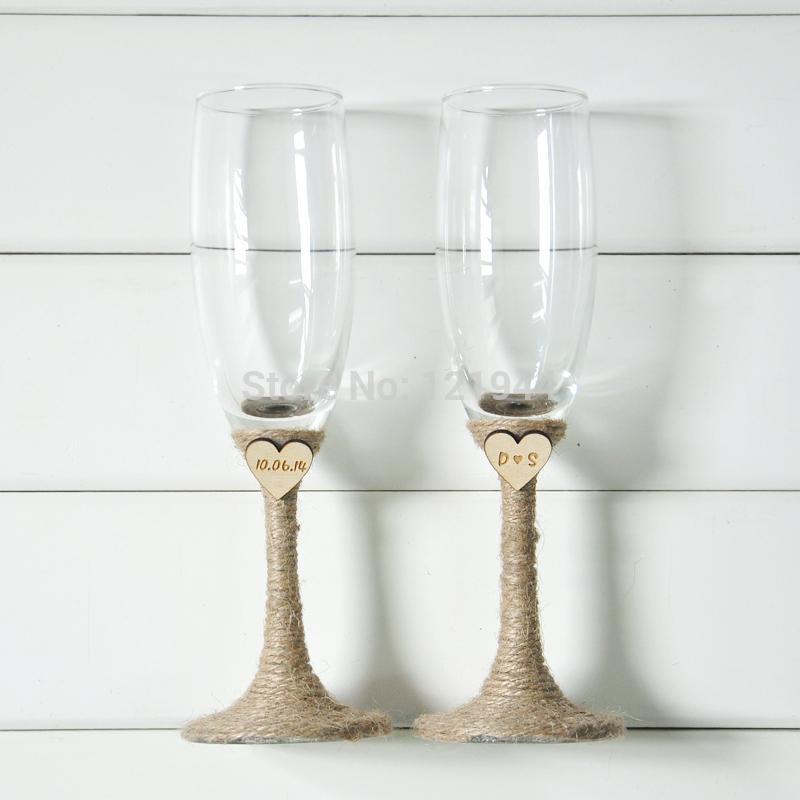 Svadobné poháre s dátumom svadby a s iniciálkami - Obrázok č. 1