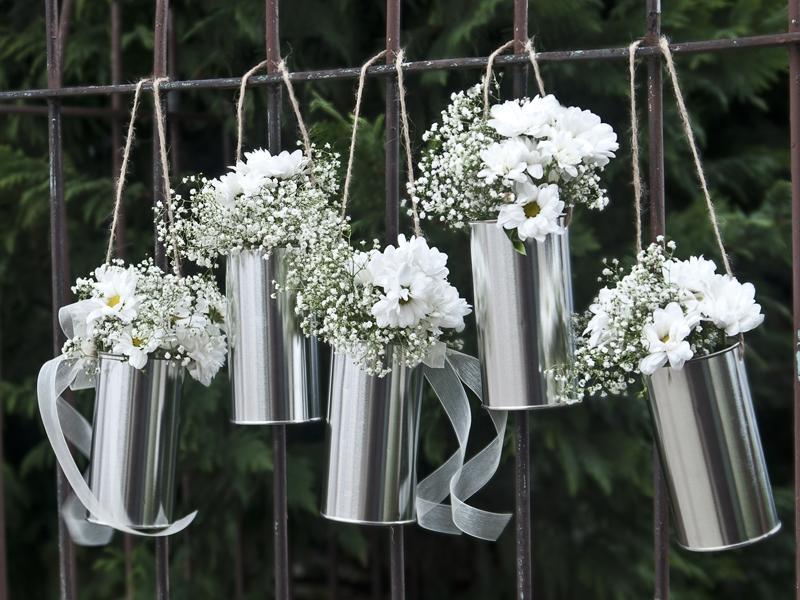 Svadobné plechovky strieborné na kvety - 5 ks - Obrázok č. 1