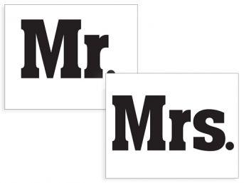 Svadobné nálepky na topánky Mr. a Mrs. 1pár - Obrázok č. 1