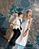 Svadobné postavičky na tortu, výška 14 cm,