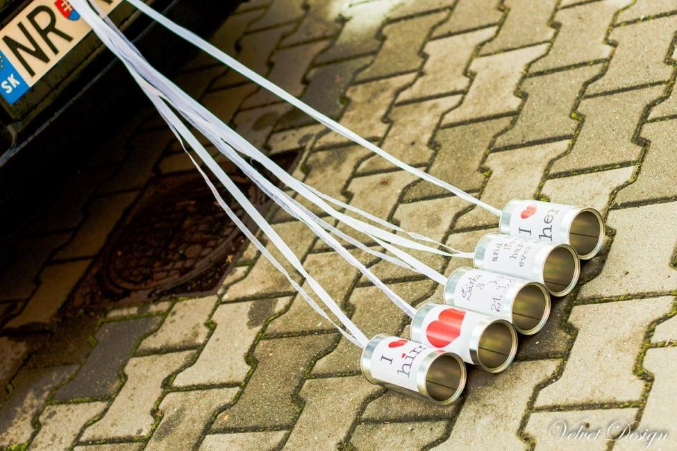 Svadobné plechovky na svadobné auto Cola style 5ks - Obrázok č. 2