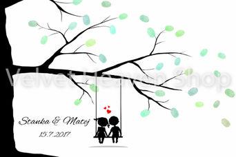 Svadobný obraz - Svadobný strom na odtlačky čierny - Obrázok č. 1