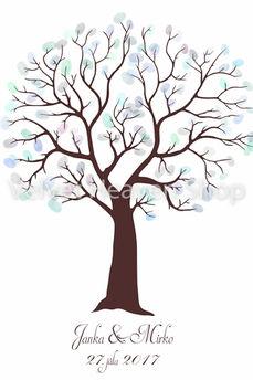 Svadobný obraz - Svadobný strom na odtlačky hnedý  - Obrázok č. 1