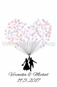 Svadobný obraz na odtlačky Balón 40cm x 50cm - Obrázok č. 1