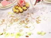 Vzorovaná organza biela so zlatými kvetmi,