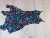Společenské květinové šaty modro fialové, 38