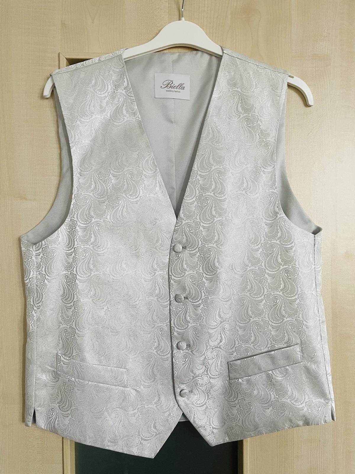 Svatební luxusní vesta + kravata a kapesníček, PC: 150€, vel.52 - Obrázek č. 1