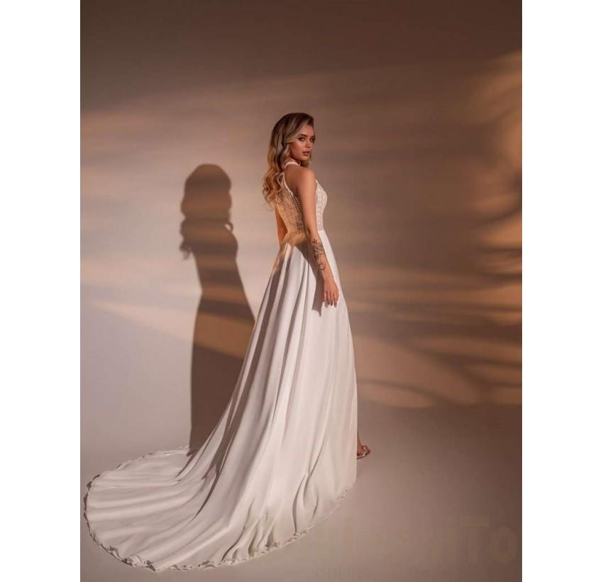 Predám svadobné šaty s boho čipkou - Obrázok č. 1
