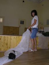 Miki si ustlal a nedbá, že sestra potřebuje stříhat výzdobu na židle