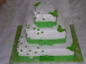 Takáto tortička, ale iba 2 poschodia a svetlejšia zelená.