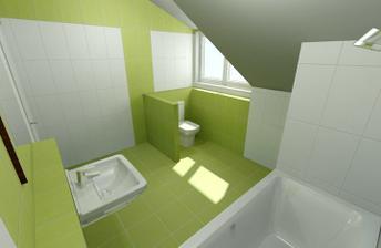 ...zelená koupelna...