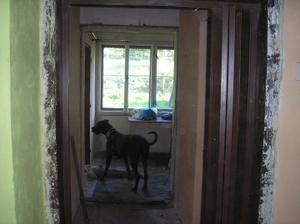 Pohled z chodby do bývalé kuchyně(tam bude koupelna)