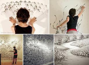Umělkyně maluje uhelným prachem,nádhera:-)