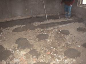 Začátek betonování 10 cm betonu,lepenka,polystyren a osb deska :-(