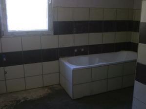 Obloženo,ještě dlažbu a koupelna je hotová :-)