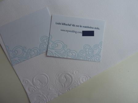 Ifoun - Ražená je i obálka, pozánka ku stolu a jmenovka (zatím beze jména, bude se dopisovat růčo dle finální sestavy hostů)
