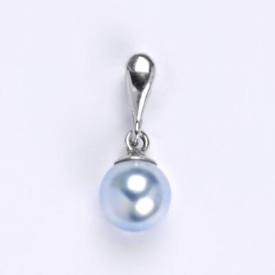 Modro-bílá bižu - ..a taky perličku na krk..