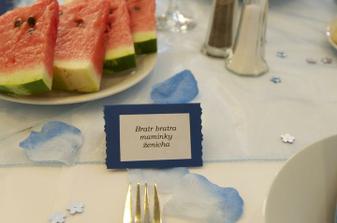..naše jmenovky..hostům to dalo trochu zabrat, ale všichni si svoje místo našli..
