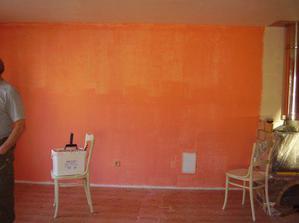 A jedna stěna je tmavší, takto vypadala mokrá uáááá, ale nakonec vypadá moc hezky :-)