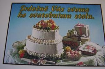 Pozvánka ke svatebnímu stolu.