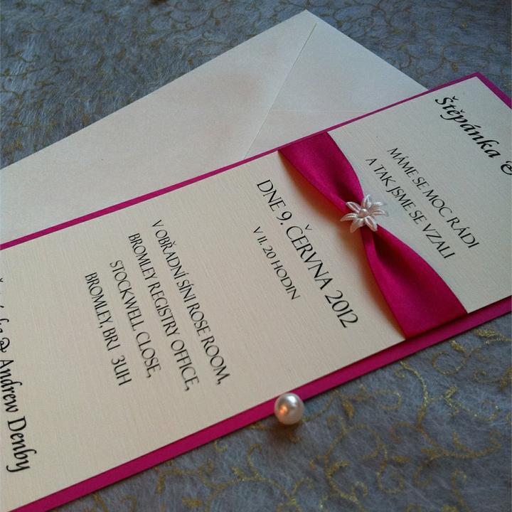 Oznamujeme :-) - jednoduché svatební oznámení  v barvě PINK