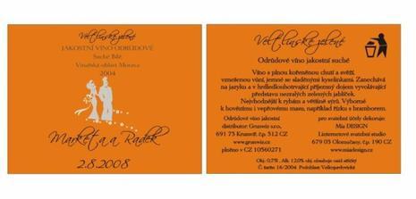 etiketa svatebního vína