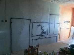 náčrt ako chceme nábytok v obývačke