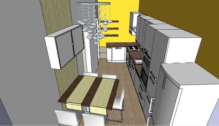 Moja vysnívaná kuchyňa - chcela som nad stôl skrinku z ikea, ale drahému sa nepáči, tak...