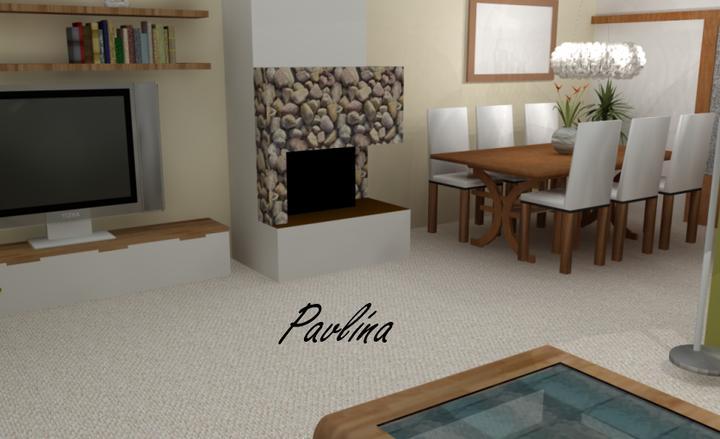 Vizky pre náš ešte nepostavený dom :-) - pohľad od sedačku na jedáleň a tv, pohľad na kuchyňu bude neskôr :-))