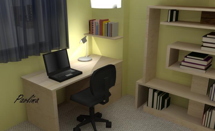Vizualizácie - rôzne - Študentská izba na prízemí domu