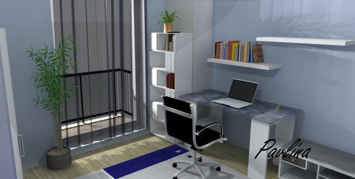 Vizualizácie - rôzne - modrá chlapčenská izba na poschodí