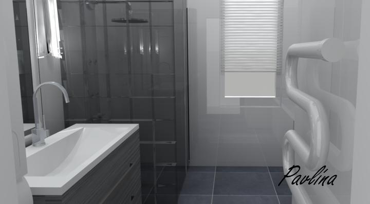 Vizualizácie - rôzne - biely obklad, sivá dlažba, sprchový kút zo sklenených tvárnic