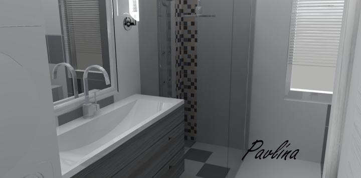Vizualizácie - rôzne - biely a sivý obklad, plus mozaika