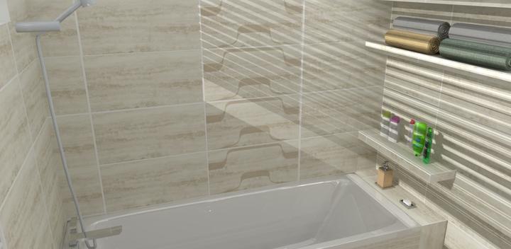 Vizualizácie - rôzne - na stene pri vani vzorovaný obklad