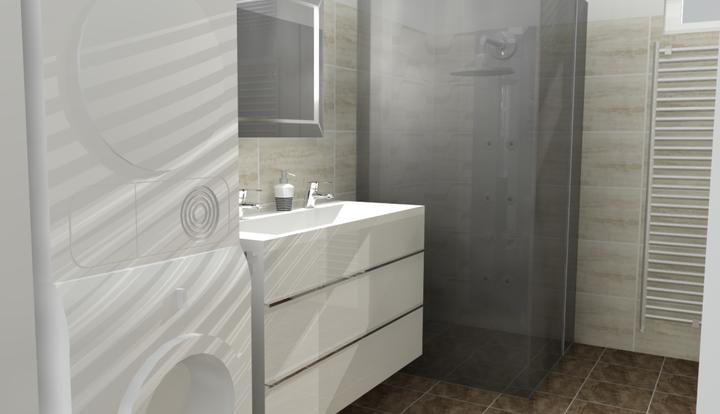 Vizualizácie - rôzne - ďalšia verzia - biela skrinka, tmavá dlažba, svetlý obklad, vzor v sprchovom kúte...