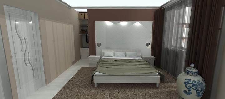 Vizualizácie - rôzne - spálňa, za stenou je šatník