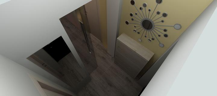 Vizualizácie - rôzne - oproti dverám je aj veľké zrkadlo