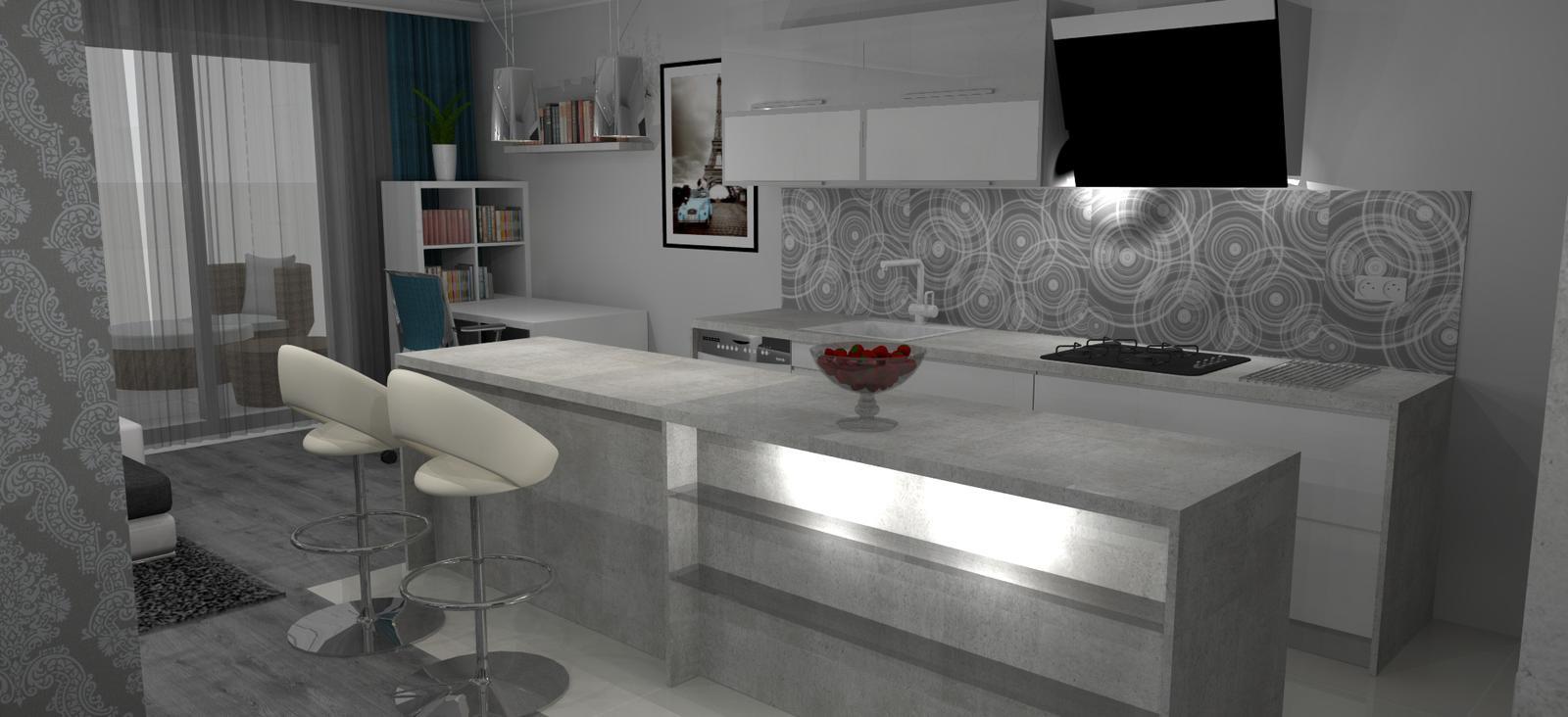 Vizky pre náš ešte nepostavený dom :-) - Druhá verzia rozloženia - kuchyňa s ostrovom