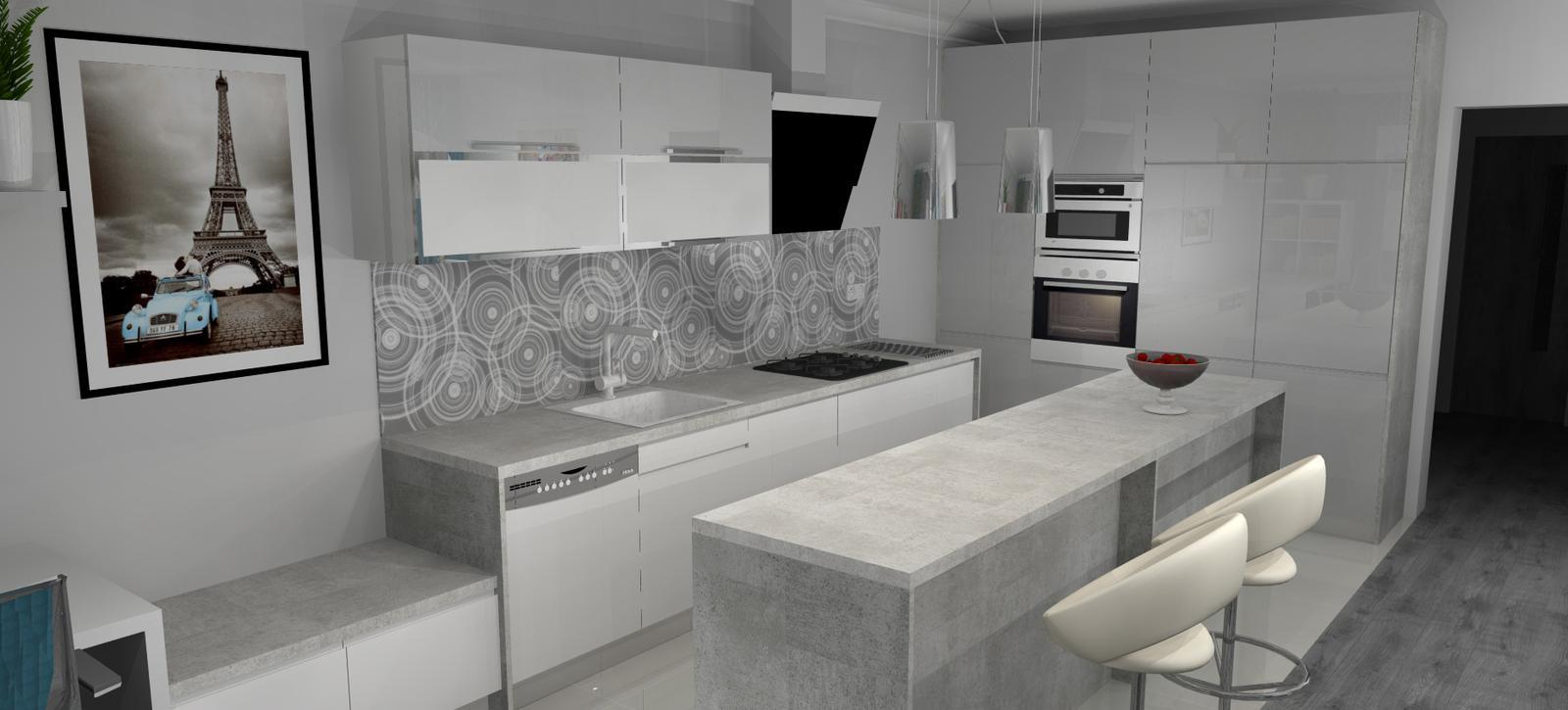 Vizky pre náš ešte nepostavený dom :-) - Pohľad zo sedačky na kuchyňu...(už viem, že takto to teda nebude)