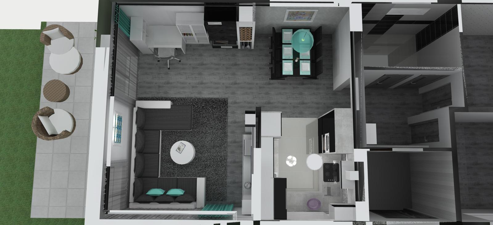 Vizky pre náš ešte nepostavený dom :-) - prvá verzia rozloženia - kuchyňa viac uzavretá